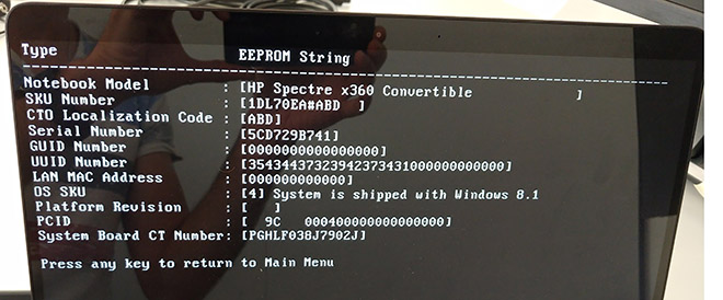 Nach dem Eintrag und erneutem Auslesen des EEPROMs werden die Daten aufgeführt.