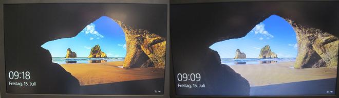 Links ein IPS-Display: Prächtige Farben und geringer Blickwinkelabhängigkeit kennzeichnen das Panel. Rechts ein TN-Panel. Die Bezeichnung TN steht für Twisted-Nematic-Technik.