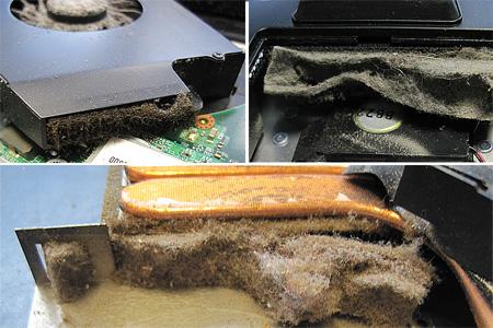 Klar, dass hier keine Wärme mehr abgeführt werden kann. Ganze Flusen-Teppiche haben sich vor dem Wärmetauschern gebildet. Die Folge: Temperaturstress für alle Bauteile und Höchstleistungsbetrieb für den Lüfter.