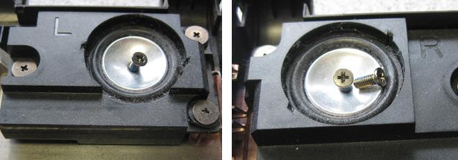 Die Lautsprecher des ASUS mit den darin befindlichen Schrauben-Fremdkörpern.