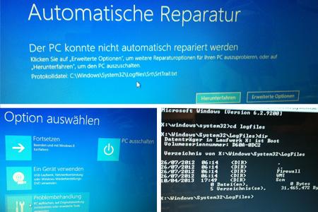 Die automatische Reparatur hat nicht funktioniert - und das angegebene LogFile existierte überhaupt nicht!