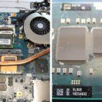 Links: Das geöffnete Vaio mit dem Prozessor bzw. dem darüber befindlichen Kühlkörper in Bildmitte. Rechts: Der ausgebaute Prozessor. Hier war noch ein QP6100 im Einsatz, dieser hatte schon die Technologie vom Core i, allerdings war der Grafikkern bei dieser CPU noch separat (rechts).