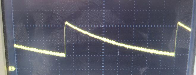 Defektes Notebook Netzteil - Sägezahnspannung mit Spitzenwerten von bis zu 32 Volt. Ein klassisches Bild bei ausgefallener Regelschleife.