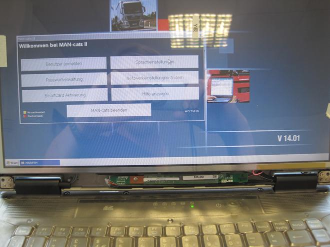 Gesamtansicht mit eingebautem Inverter und angepasstem Ansteuerkabel sowie CCFL Display.