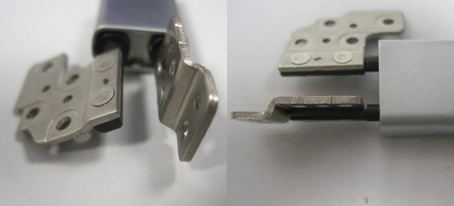 Hier schön zu sehen: Das aufwändig konstruierte Doppelscharnier welches im Lenovo Ideapad Yoga 13 verwendet wird.