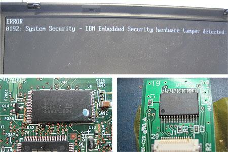 Oben: Die Fehlermeldung nach dem Mainboardtausch. Unten Links: Der BIOS Chip welcher die maßgeblichen Security-Infos enthalten hatte. Unten rechts: Der Security Chip