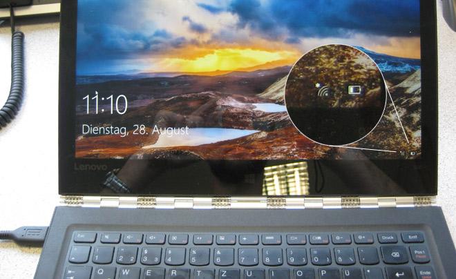 Netzteil Ladekabel defekt beim Lenovo Yoga 900-13ISK. Trotz angeschlossenem Netzteil bezieht das Notebook den Strom vom Akku.