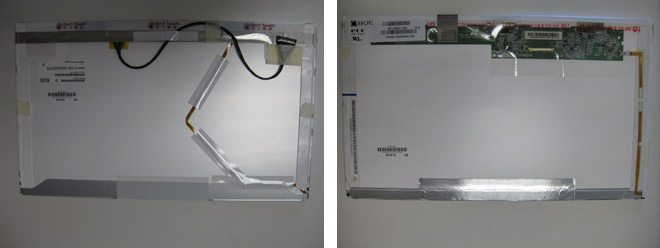 Notebook Display Reparatur: Links das exotische Panasonic Display und rechts das Standard BOE Display. Die Anschlüsse machen den Unterschied.