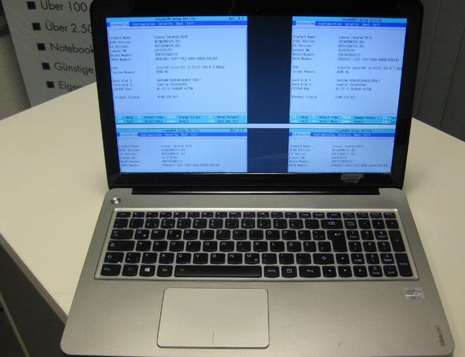 Lenovo Ideapad U510 - Notebook Display Reparatur: Gleich viermal wurde das Bild auf dem Display des Lenovo Ideapad u510 angezeigt. Ein Fehler den es früher öfter gab, heute jedoch selten ist.