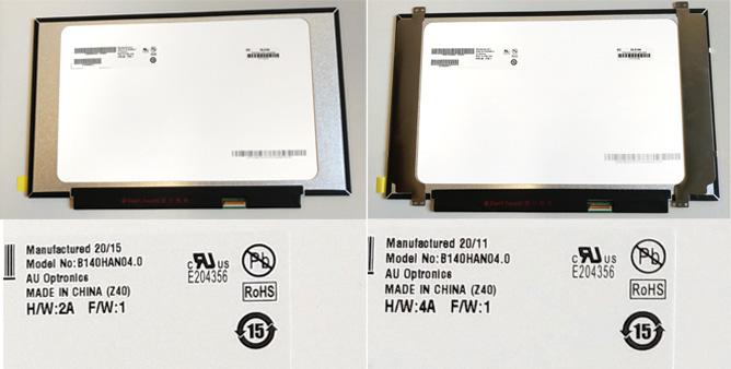 Im Bild zu sehen: Zwei Notebook-Displays mit der gleichen Model No. des Display-Produzenten. Die Bauformen sind aber unterschiedlich, das Display links ist ohne, das Display rechts mit Brackets ausgestattet.