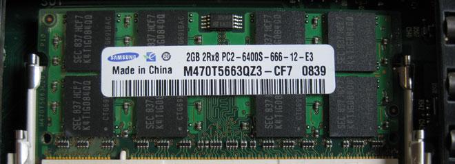 Notebook RAM erweitern: Ein einzeln eingebautes 2 GB RAM Modul