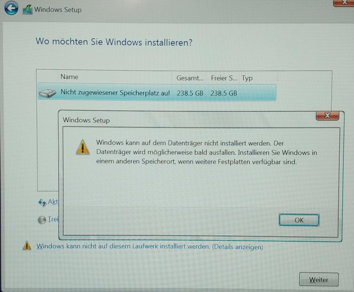 Notebook SSD Festplatte defekt: Der Installationsversuch von Win 10 wird abgelehnt.