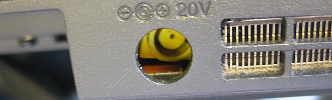 Notebook Strombuchse defekt. Die Strombuchse ist ins Innere des Lenovo ThinkPad L530 gedrückt worden.