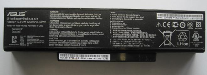 Ein Originalakku für das ASUS K72 aus dem Jahr 2012. Hier wurden schon die neueren Samsung Zellen verwendet.