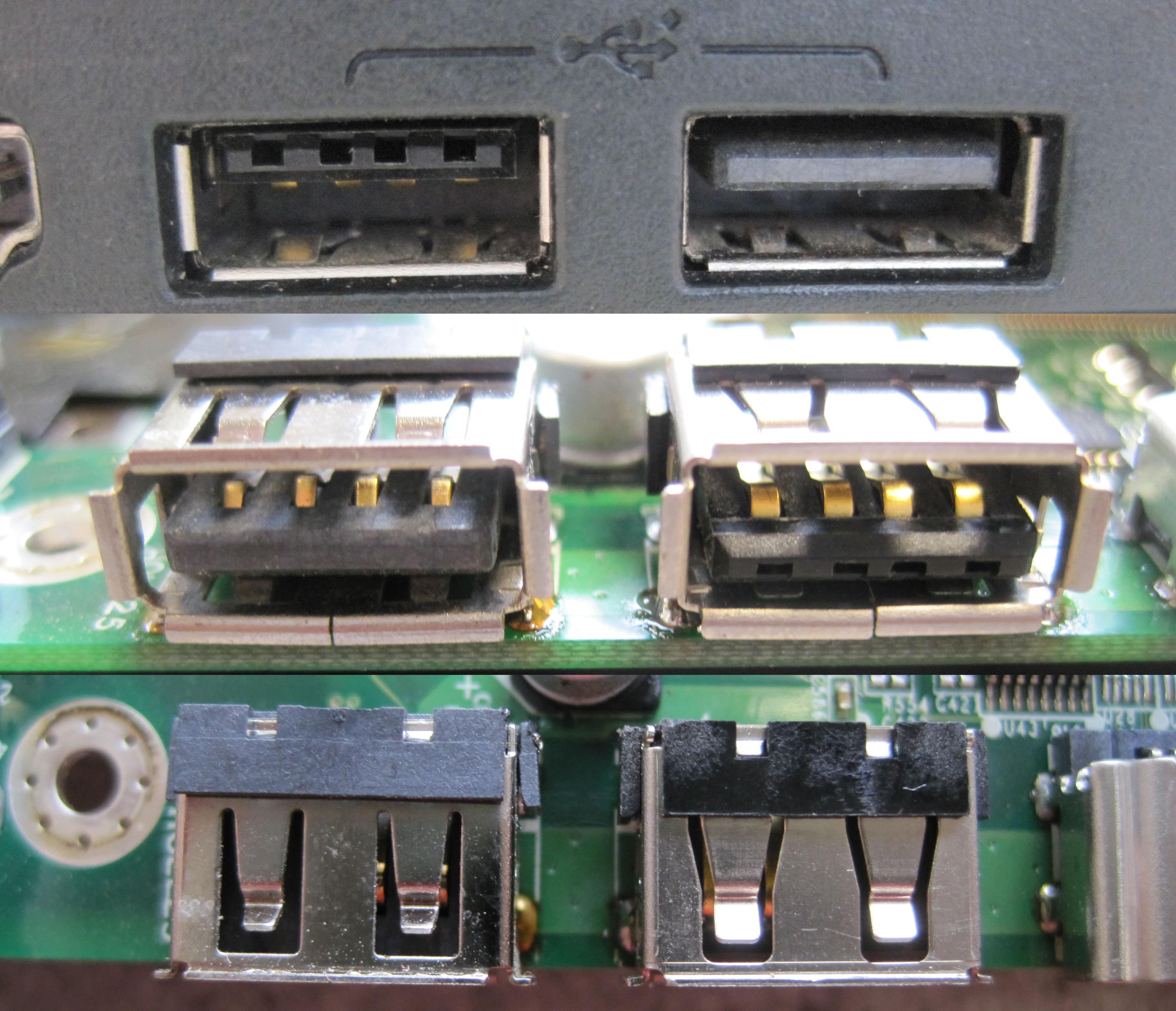 reparierte USB-Buchse