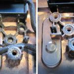 Die gebrochene Scharnieraufnahmen (links) und die Scharnieraufnahmen am Ersatz-Bottomcase.