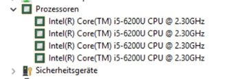 Beispiel Screenshot vom Gerätemanager eines anderen Notebooks: Glück gehabt, denn hier ist eine Intel i5-Quadcore-CPU der sechsten Generation (i5-6xxxx) verbaut.