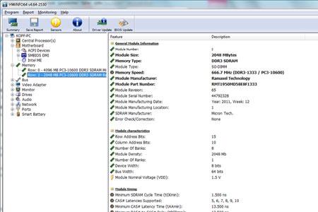 Die Detaildaten eines der eingebauten RAM- Module.