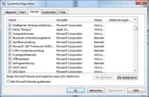 Deaktivieren des Dienstes in der Systemkonfiguration