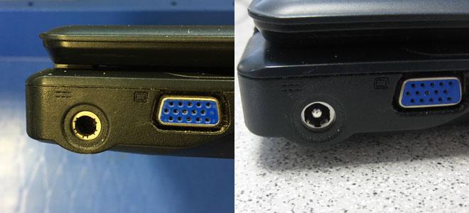 Innenstift der Strombuchse abgebrochen Links die defekte Notebook Strombuchse des Wortmann Terra Mobile 2510, ohne Innenstift. Rechts die neue Strombuchse mit Innenstift.