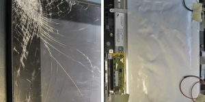 Das beschädigte Tablet-Display und das von Fujitsu schnell gelieferte Ersatzteil auf welches dann alle Komponenten wieder zu montieren waren.