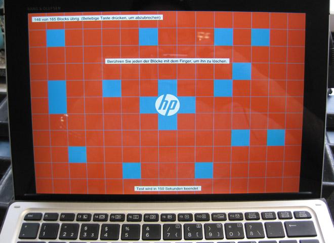 Touchscreen defekt. Das HP Diagnosetool hilft, den Fehler einzugrenzen.