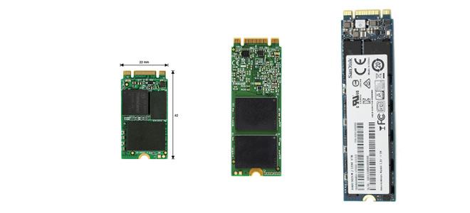 Verschiedene Bauformen von M.2-SSD Festplatten. Links: M.2 2242, Mitte:M.2 2260, Rechts: M.2 2280.